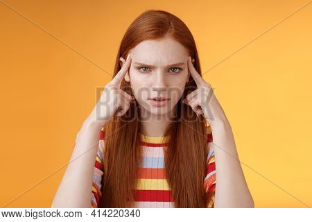 Puzzled Serious-looking Stressed-out Young Tired Female Student Frowning Look Unhappy Touching Templ
