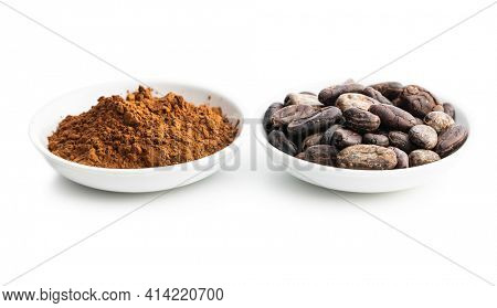 Roasted cocoa beans and cocoa powder isolated on white background.