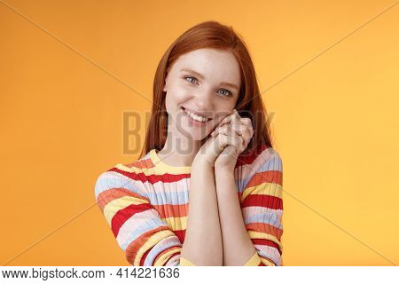 Romantic Tender Sensual Attractive Smiling Redhead Girlfriend Melting Heart Feel Warmth Delighted Le