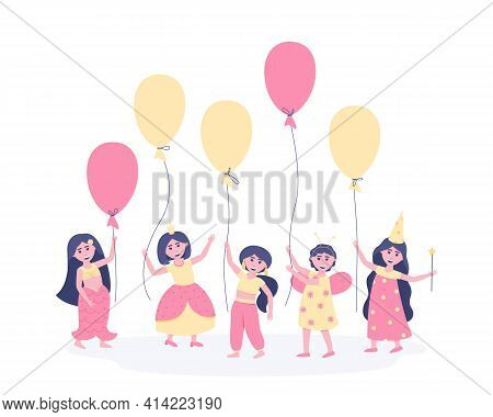Girls With Balloons In Carnival Costumes On Their Birthday. To Participate In The Holiday, The Girlf