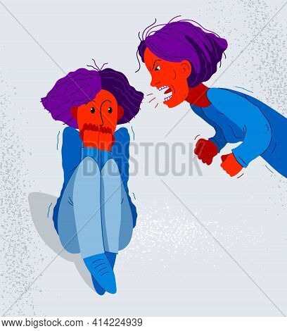 Abusive Mother Vector Illustration, Bad Mother Scream And Shout On Scared Teen Girl Her Daughter, Do