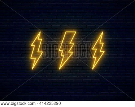 Neon Lightning Bolt Set. High-voltage Thunderbolt Neon Symbol. Banner Design, Bright Advertising Sig