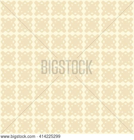 Vector Seamless Pattern, Floral Ornamental Background, Repeat Geometric Tiles, Curved Shapes. Subtle
