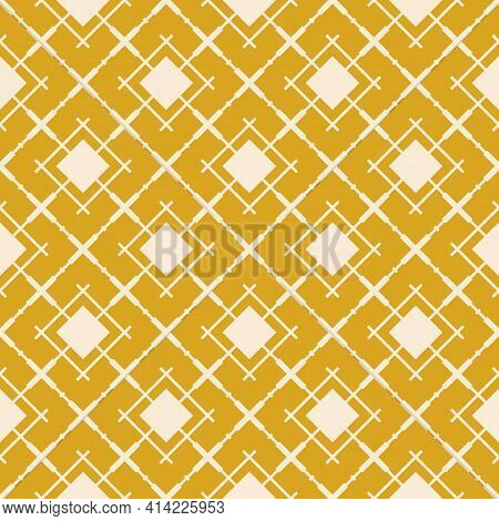 Abstract Geometric Seamless Pattern With Diagonal Square Grid, Lattice, Mesh, Net, Grill, Rhombuses.