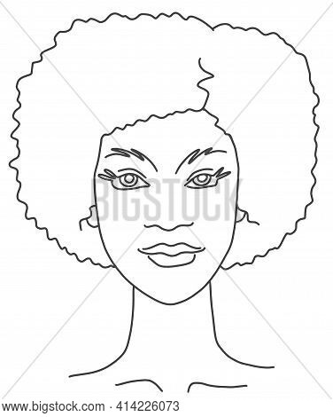 Abstract Woman Portrait With Curly Hair. Line Drawing Face Aesthetic Contour. Sketch Vector Illustra