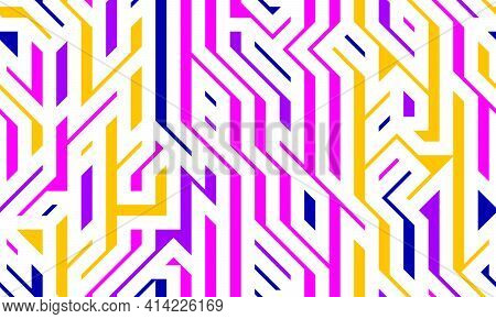Tech Style Seamless Linear Pattern Vector, Circuit Board Lines Endless Background Wallpaper Image, C