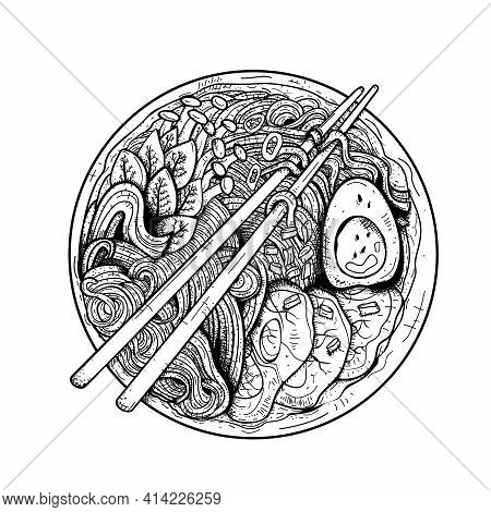Japanese Noodles: Ramen, Udon, Soba.traditional Japanese, Chinese Dish.sketch.