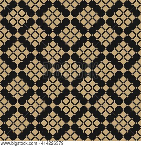 Golden Geometric Squares Pattern. Vector Abstract Black And Gold Seamless Texture With Diamond Grid,