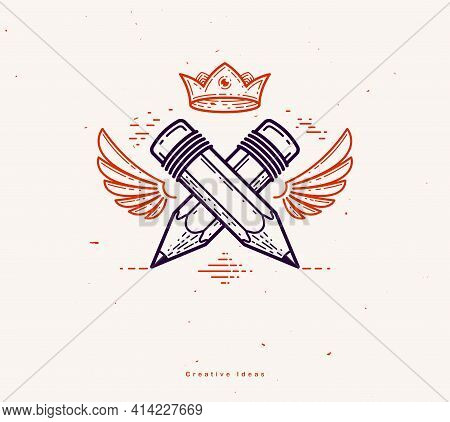 Two Crossed Pencils With Wings And Crown, Vector Simple Trendy Logo Or Icon For Designer Or Studio,
