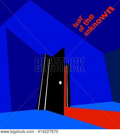 Half Open Door From The Dark Room, Fear Of The Unknown Vector Concept Illustration, Bedroom Scary Ni