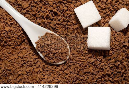 Coffee. Sugar. A Spoon With Coffee Granules. Instant Coffee Close-up.