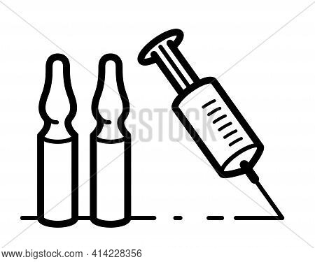 Vaccination Theme Vector Illustration Of A Syringe With Ampules Isolated Over White, Epidemic Or Pan