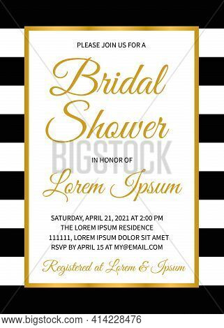 Bridal Shower Invitation Card. Classic Bridal Party Invite. Wedding Stationery. Easy To Edit Vector