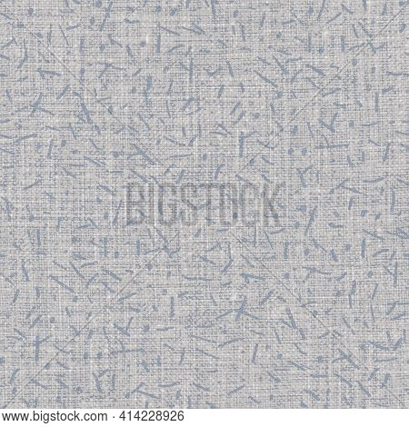 Seamless French Farmhouse Linen Doodle Background. Provence Blue Gray Linen Rustic Pattern Texture.