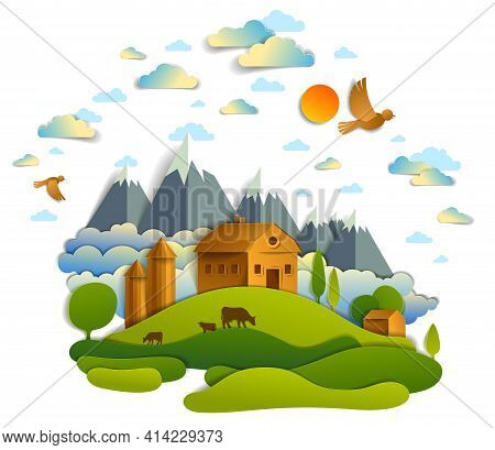Farm In Scenic Landscape Of Fields And Trees, Mountains Peaks And Country Buildings, Birds And Cloud