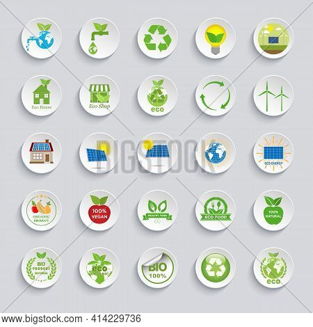 Ecology Icons Set. Eco Friendly Flat Sign Collection.problems Of Ecology And Environment, Renewable