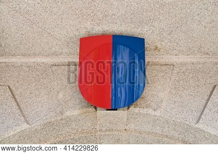 Close Up Coat Of Arms Of Ticino Canton Hanging At The Entrance Of Government Building Also Know As P