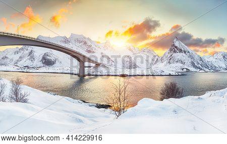 Captivating Morning View Of  Fredvang Cantilever Bridges At Sunrise. Travel Destination On Lofotens.