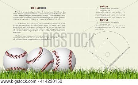 Baseball Banner Template, Game Ball With Shadow. Vector