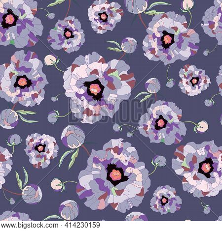 Seamless Pattern Peony. Drawn Vintage Flowers Peonies Branches, Bouquets On Purple Background. Big F
