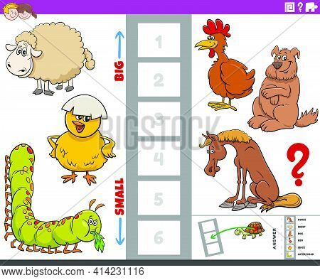 Cartoon Illustration Of Educational Game Of Finding The Biggest And The Smallest Animal Species With