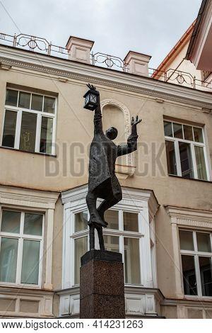 Vilnius, Lithuania - March 14, 2021: Statue