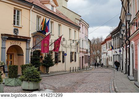 Vilnius, Lithuania - March 14, 2021: Pub And Hotel Stikliai In Picturesque Zydu Street Of Vilnius Ol