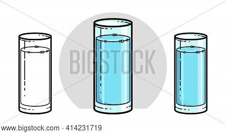 Glass Of Water Vector Illustration Isolated On White, Pure Fresh Drinking Water Cartoon Style Icon.