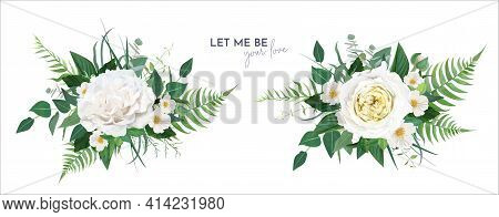 Vector Floral Greenery Bouquet. Lush Green Tropical Eucalyptus Leaves, Fern, White Light Yellow Rose