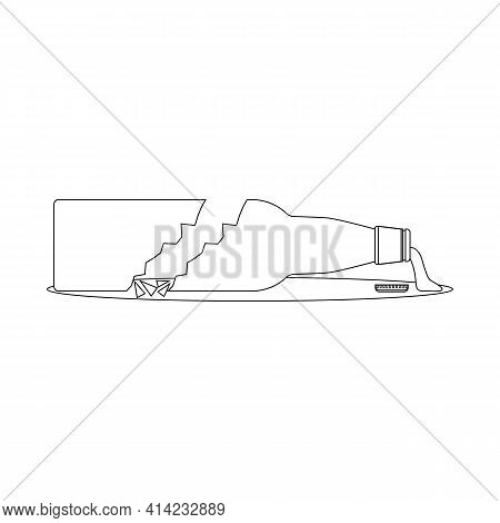 Broken Beer Bottle Drawing With Splinters And Puddle. Transparent And Outline  Vector Cartoon Clipar