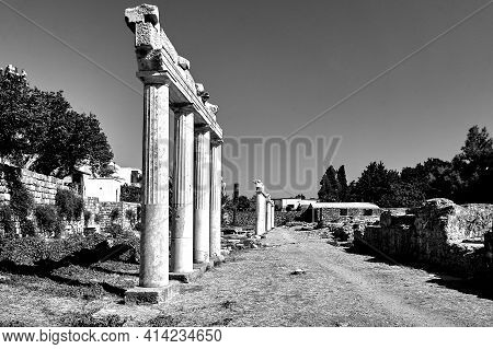 Columns Of Ancient Ruins In The City Of Kos In Greece, Monochrome
