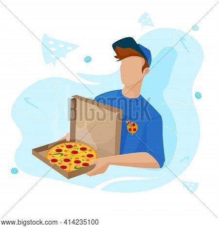 Pizza Delivery To Your Home. The Guy Brought Pizza And Salami To The House