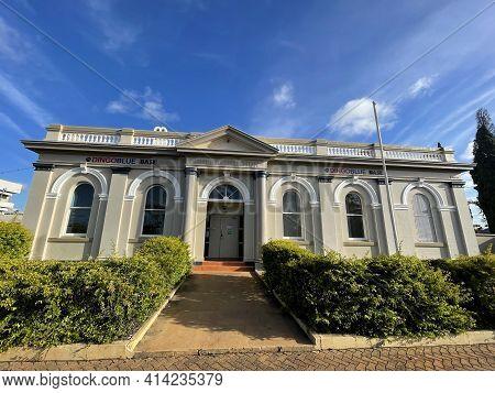 Bundaberg, Australia - February 28, 2021: Facade Of The Former Court House And Police Station, Built