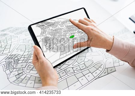 Cadastre Cartographic Building Map On Tablet Computer