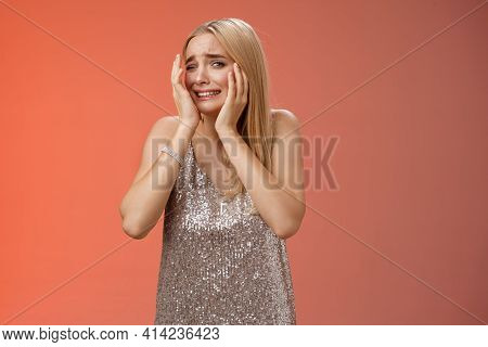 Concerned Blond Girlfriend Panic Feel Afraid Insecure Unsafe Anxiously Turning Face Cover Head Look