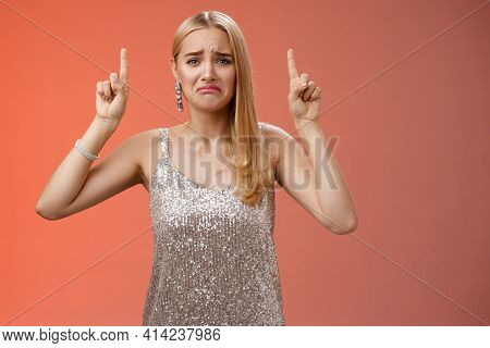 Upset Whining Immature Spoiled Blond Rich Girl In Silver Glittering Dress Pouting Frowning Gonna Cry