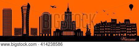 Vector City Skyline Silhouette - Illustration,  Town In Orange Background,  Warsaw Poland