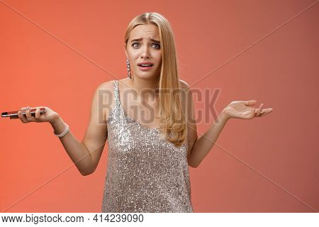 Frustrated Upset Dumped Blond Attractive Girlfriend Shrugging Hands Sideways Dismay Look Questioned