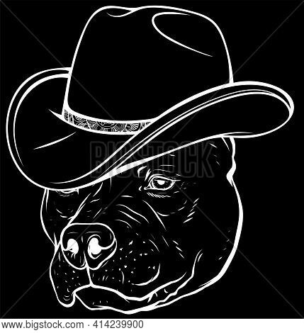 White Silhouette Of Gangster Pitbull With Fedora Hat On Black Background