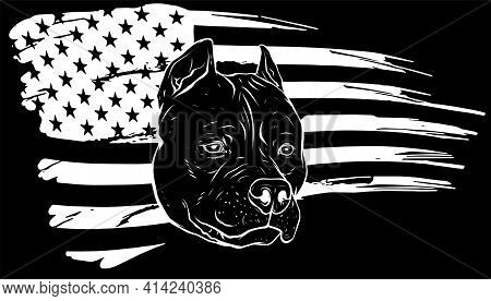 White Silhouette Of Head Pitbull With American Flag Vector Illustration