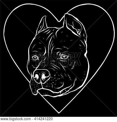 White Silhouette Of Pitbull Head Dog In Heart Vector Illustration
