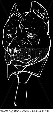 White Silhouette Of Pitbull Head With Necktie Vector Illustration