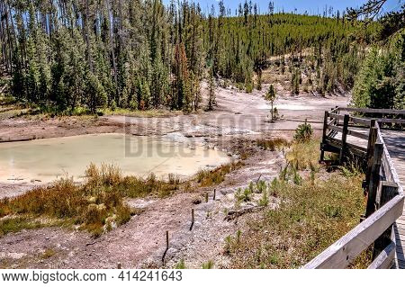 Beautiful Scenery At Mammoth Hot Spring In Yellowstone