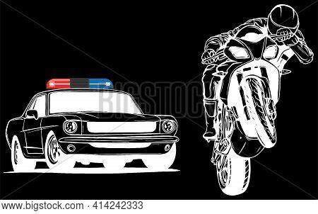 White Silhouette Of Police Car Is Chasing A Criminal On A Motorcycle.