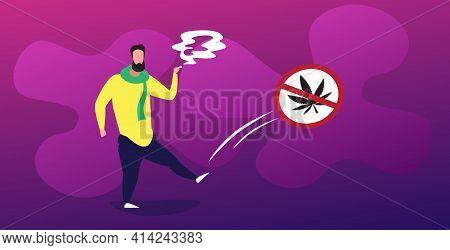 Man Smoking Marijuana Joint Near Ban Drug Sign Cannabis Prohibition Icon Drugs Consumption Addiction