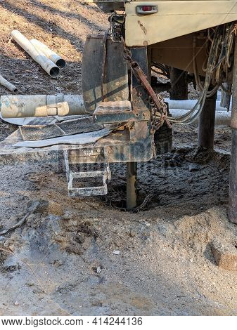Water Well Drilling Machine And Equipment On Site