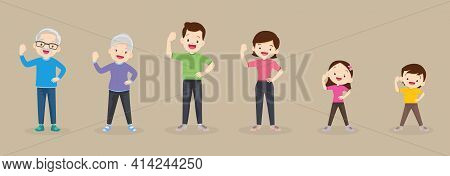 Big Family Strong Arm Poses Exercising Together For Good Health ,grandfather, Grandmother, Father, M