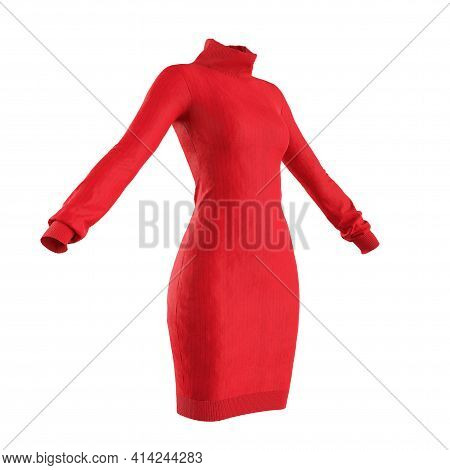 Simple Red Comfort Woman Knitwear Sweater On A White Background. 3d Rendering
