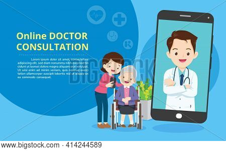 Mobile App Family Doctor. Family Using Mobile Application, Control Health Indicators, Consult Online