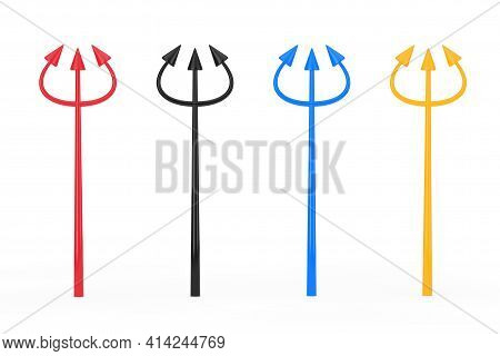 Set Of Multicolour Red Devil Halloween Day Celebration Trident Or Pitchforks On A White Background.